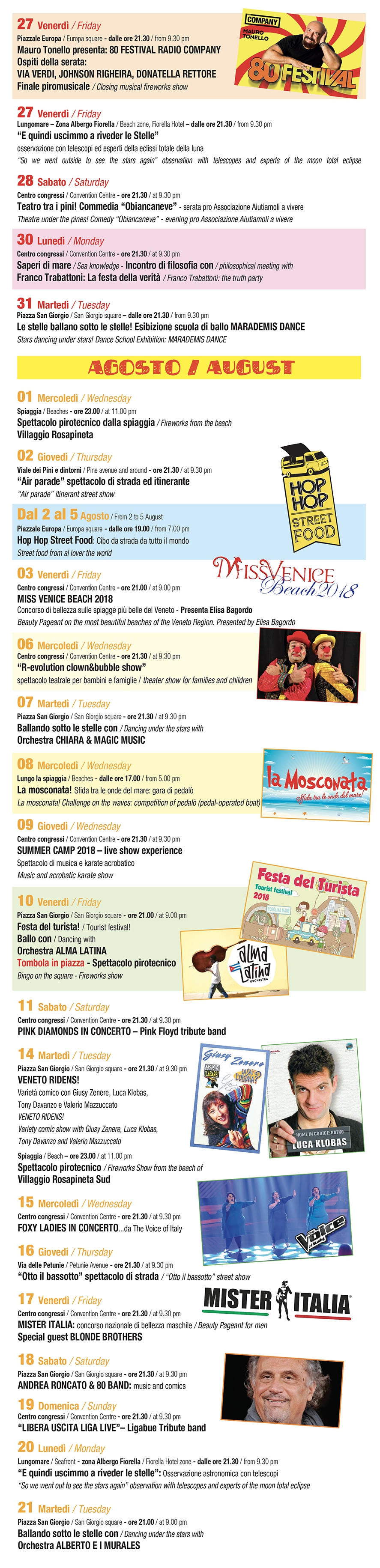 Eventi 2018 a Rosolina Mare - Events 2018 at Rosolina Mare